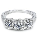 Ornate Three Stone Diamond Ring