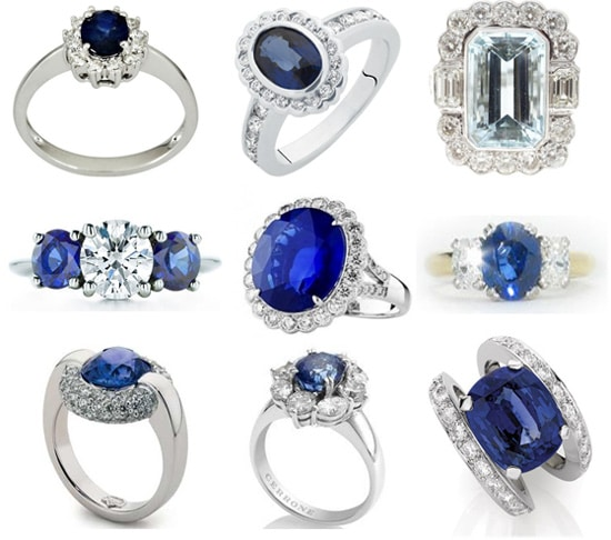 Hot Trends of 2012 Blue Sapphire and Diamond Wedding Ring