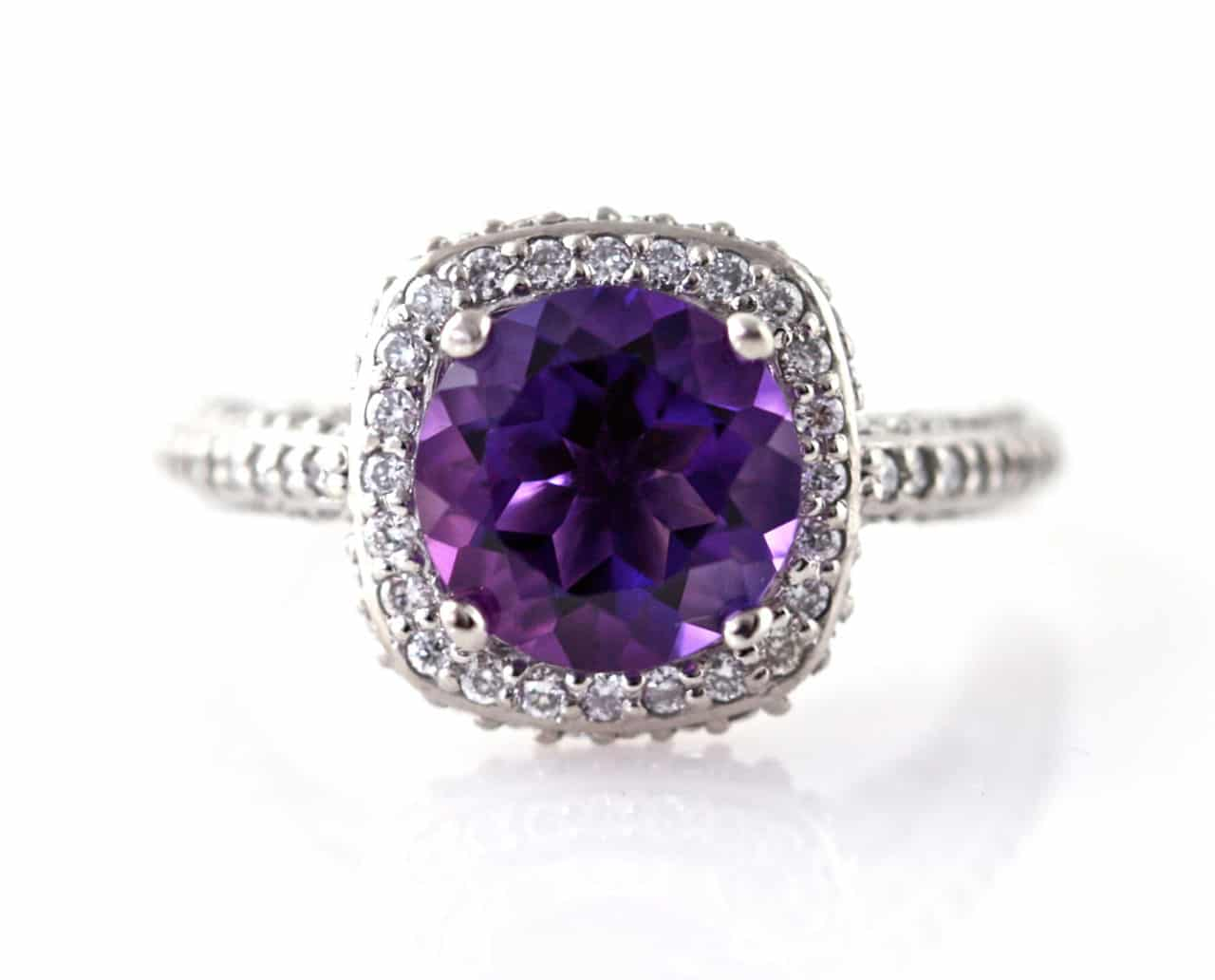 engagement ring amethyst purple vintage gold rings white diamond and