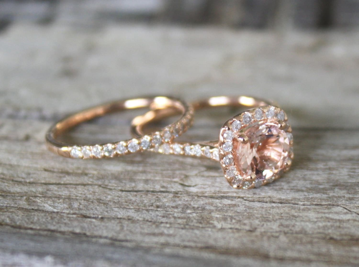 friendly ring and via diamond recycled gold etsy rose pin moissanite alternative engagement eco rings size
