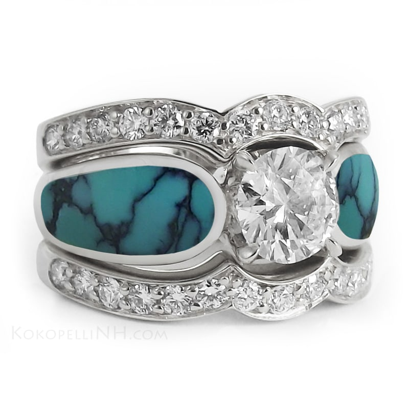 turquoise and diamond wedding ring turquoise wedding rings 8114