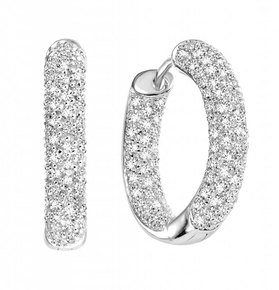 Pave Diamond Hoops Earrings diamond hoop earrings