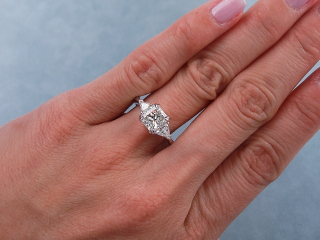 ring with a radiant cut diamond