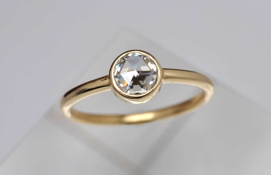 rose cut diamond gold ring