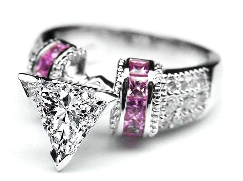 diamond and pink crystal engagement ring