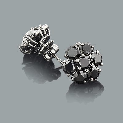 men's earrings featuring black diamonds that can also be worn as a single