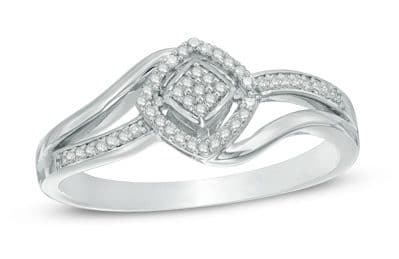 Diamond Cluster Square Frame Bypass Ring in Sterling Silver