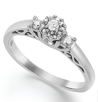 Certified Round-Cut Diamond Engagement Ring in Sterling Silver