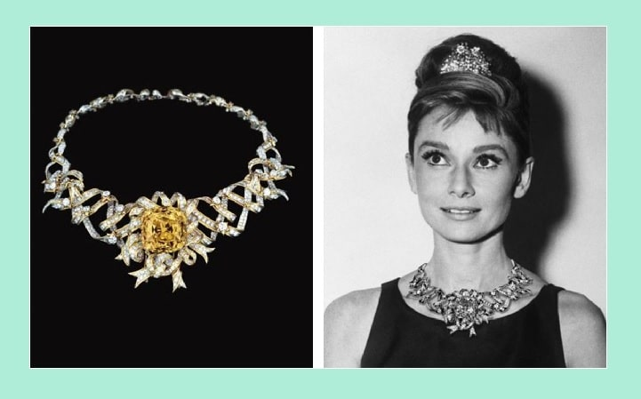 Audrey Hepburn wearing the Tiffany Yellow Diamond