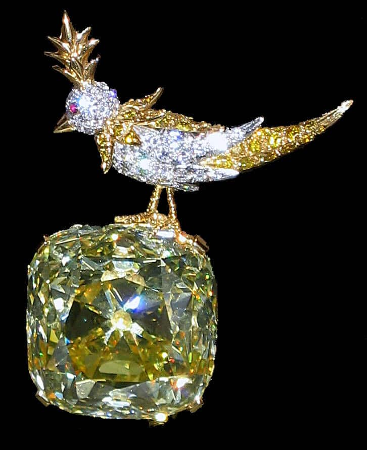 Tiffany Yellow Diamond in Bird on a Rock