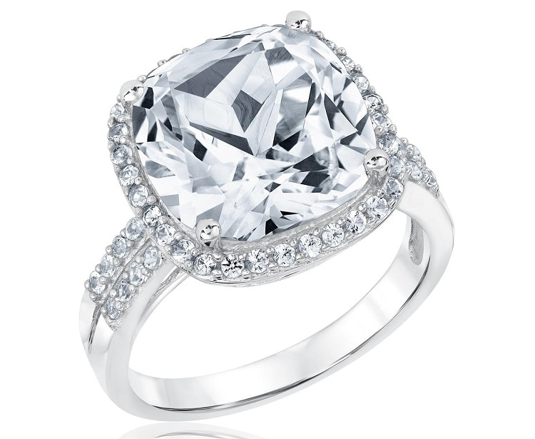 Sterling Silver Created White Sapphire Ring
