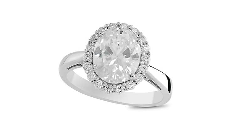 STERLING SILVER WHITE SAPPHIRE OVAL RING
