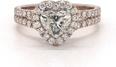 Heart Shaped Side Stones Engagement Ring in 14K Rose Gold