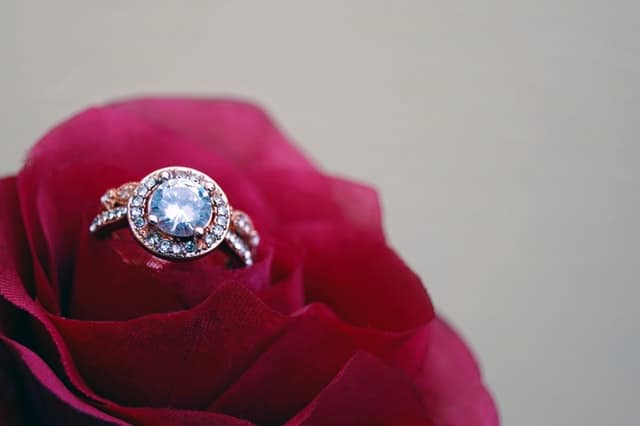 Gold colored cluster ring on red rose