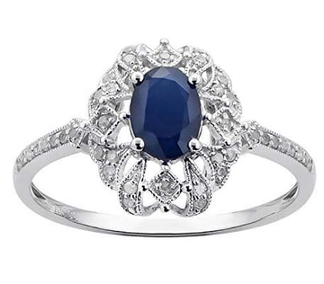 10k White Gold Genuine Oval Vintage Style Sapphire and Diamond Ring