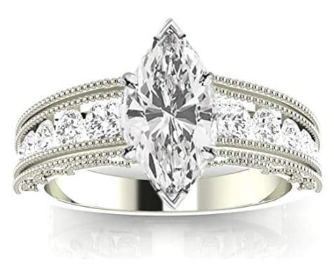 14K White Gold Antique Vintage Style